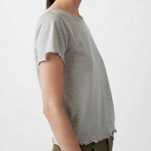 Express Metallic Ruffle Hem Short Sleeve Tee